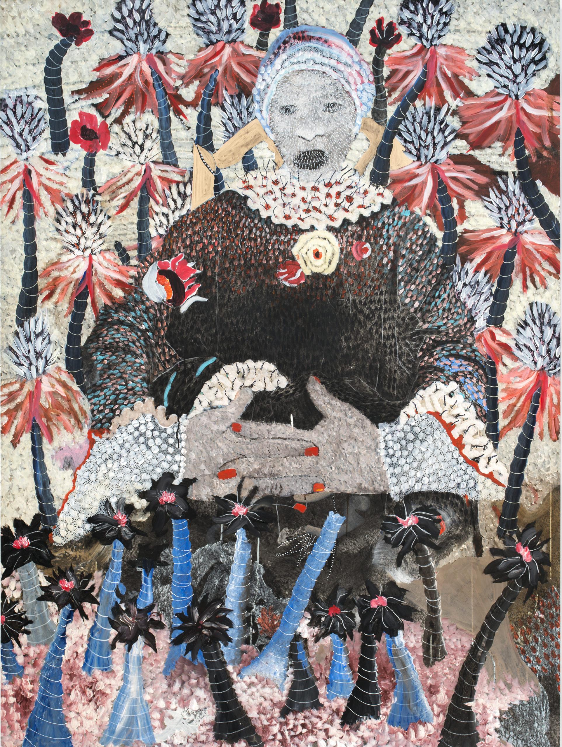 OMAR BA, I am not a toy, 2021   Acrylique, crayon, huile, encre de chine et stylo sur carton / Acrylic, pencil, oil, Indian ink and Bic pen on cardboard 250 x 150 cm – 98 3/7 x 59 1/16 in.