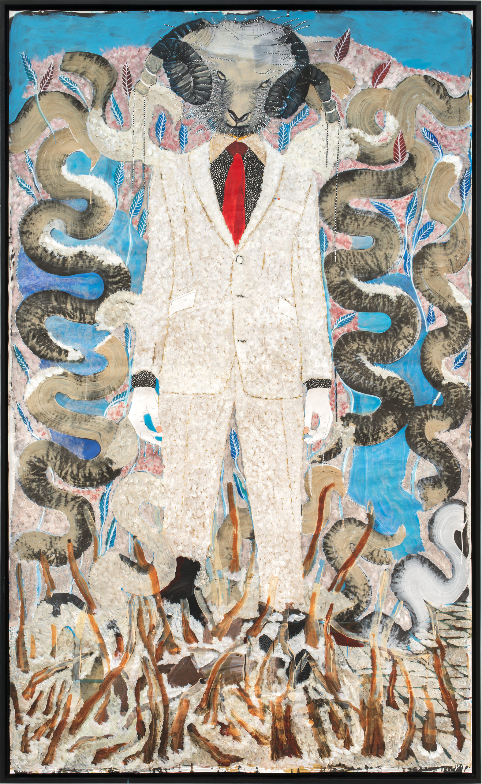 OMAR BA Man and Superman I, 2021   Acrylique, crayon, huile, encre de chine et stylo sur carton / Acrylic, pencil, oil, Indian ink and Bic pen on cardboard 250 x 150 cm – 98 3/7 x 59 1/16 in.