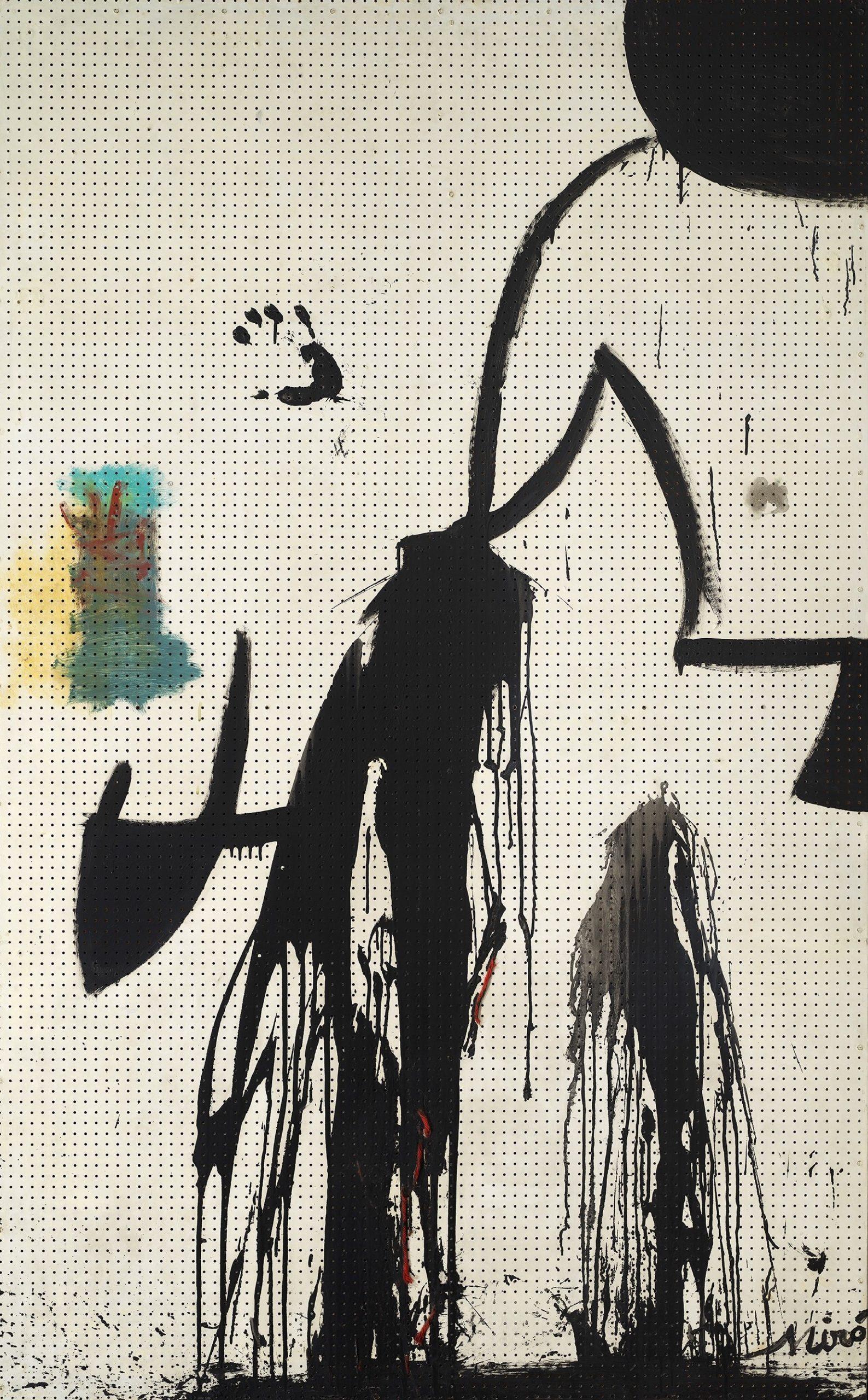 Joan Miró, Peinture (Projet pour une tapisserie), 1973-74 Peinture d'intérieur, huile et laine sur bois 197 x 122 cm, courtesy galerie Mayoral