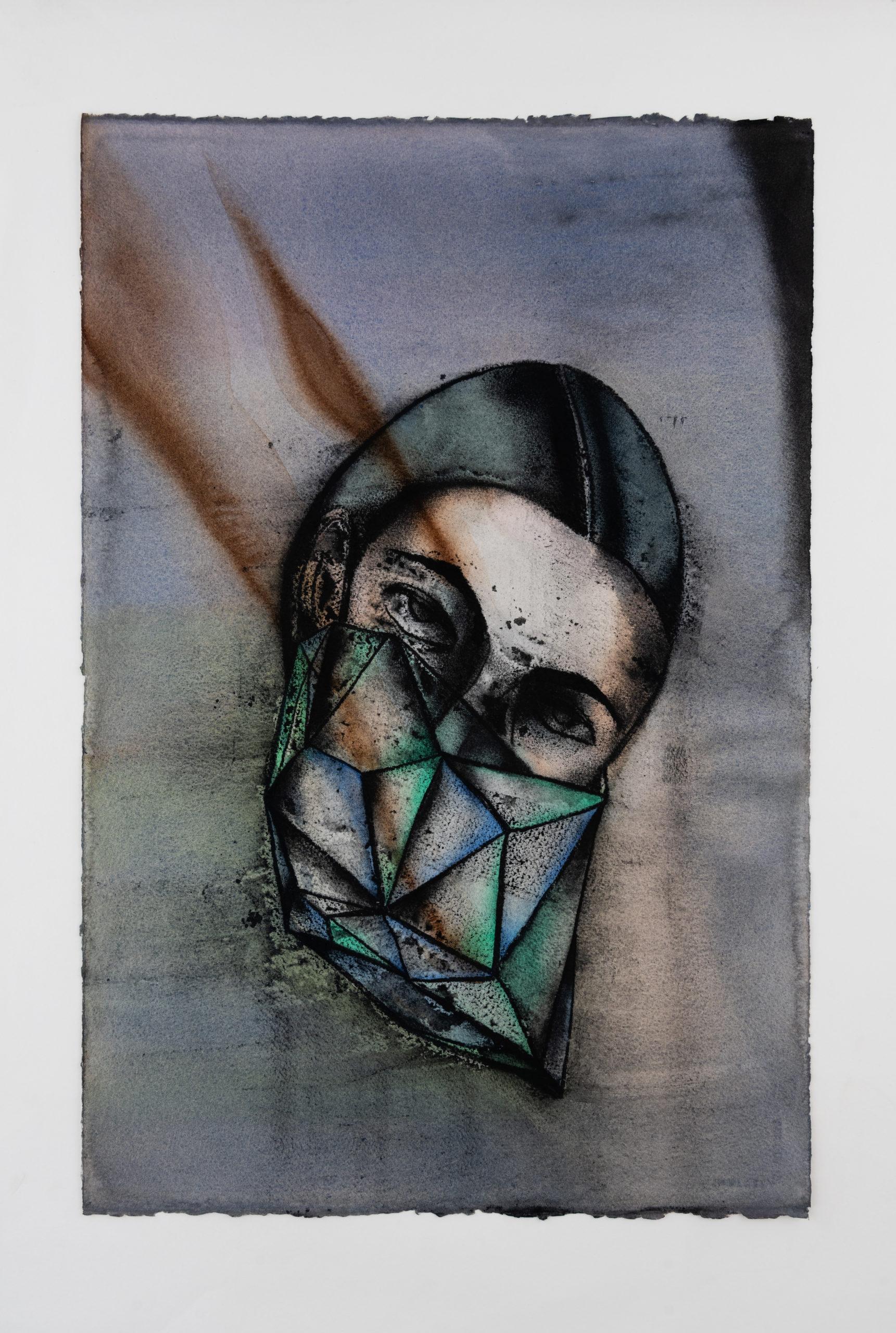 Masking/Diamond2020 Oeuvre sur papierAquarelle, fusain et pastel sur papier / Watercolor, charcoal and soft Pastel on paper 57 x 38 cm—22 ½ x 15in. unframed 72 x 53 cm – 28 3/8 x 20 7/8 in. framed, courtesy galerie Templon Partis-Bruxelles