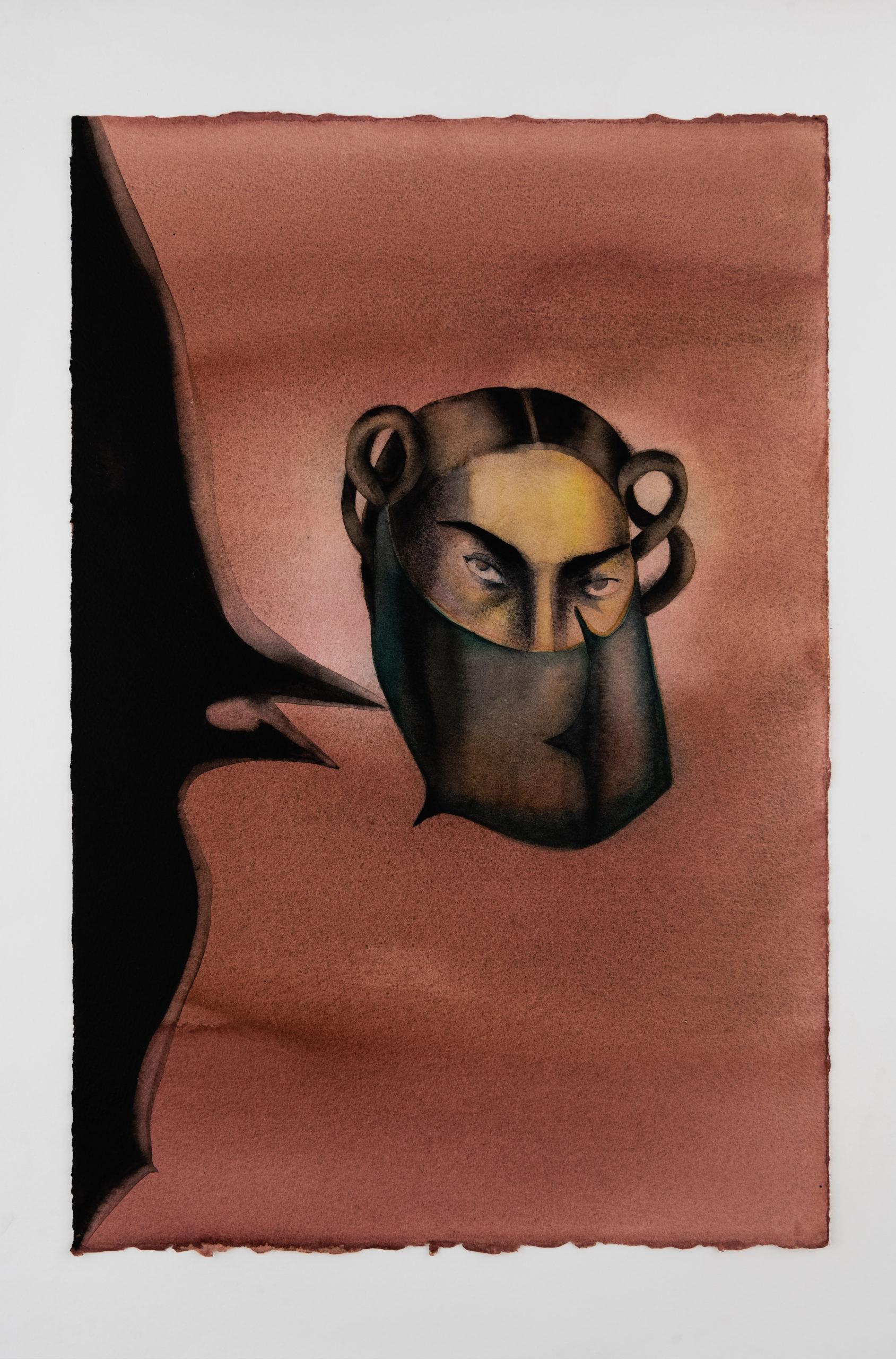 Anju Dodiya Masking/Tusks2020 Oeuvre sur papierAquarelle, fusain et pastel sur papier / Watercolor, charcoal and soft Pastel on paper 57 x 38 cm—22 ½ x 15in. unframed 72 x 53 cm – 28 3/8 x 20 7/8 in. framed, courtesy galerie Templon Paris-Bruxelles